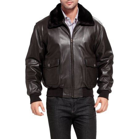 Landing Leathers Navy Mens G-1 Goatskin Leather Flight Bomber Jacket (Regular & -