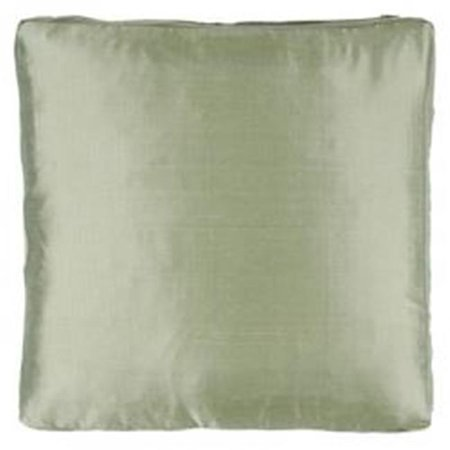 Indias Heritage C543 sage Silk Dupioni Solid Box Throw Pillow, Sage - 18 x 18 x 2 -