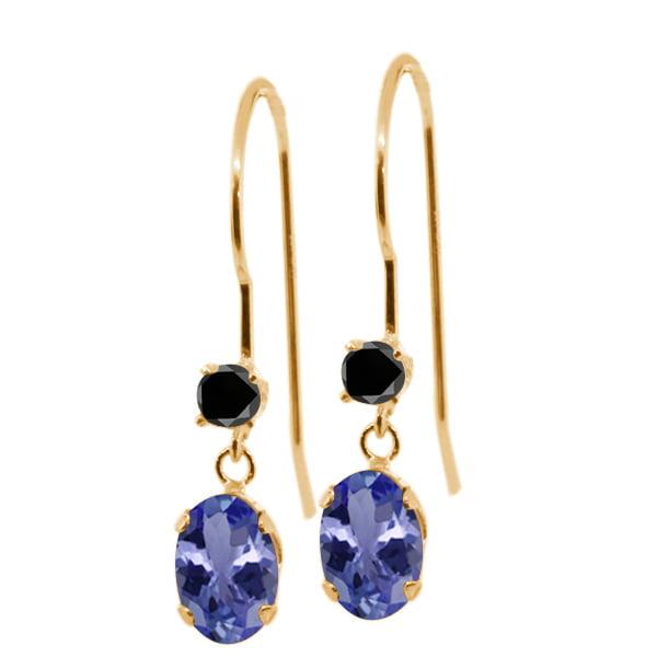 1.03 Ct Oval Blue Tanzanite Black Diamond 14K Yellow Gold Earrings