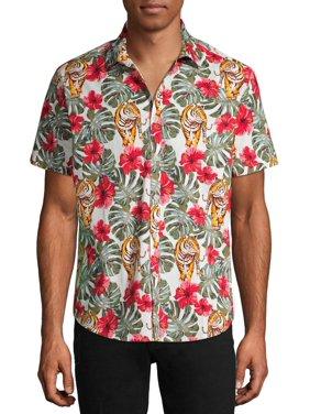 No Boundaries Men's Tiger Print Short Sleeve Button-up Shirt, up to Size 3XL