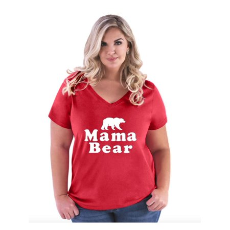 Mama Bear Women Curvy Plus Size V-Neck Tee