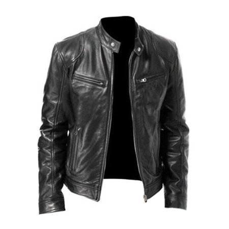 Men's Plus Size Leather Motorcycle Biker Long Sleeve Collar Zipper Coat Jacket Leather Coat With Fur Collar