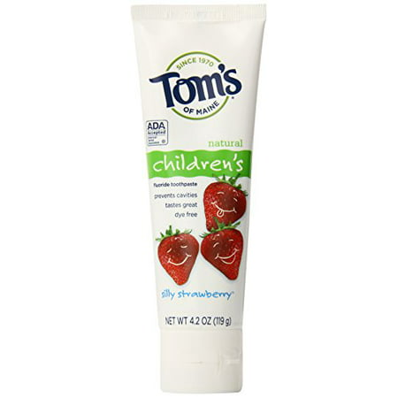 2 Pack - Tom's Silly Strawberry w/Fluoride Kids Toothpaste - 4.2oz Each - Kids Silly Strawberry
