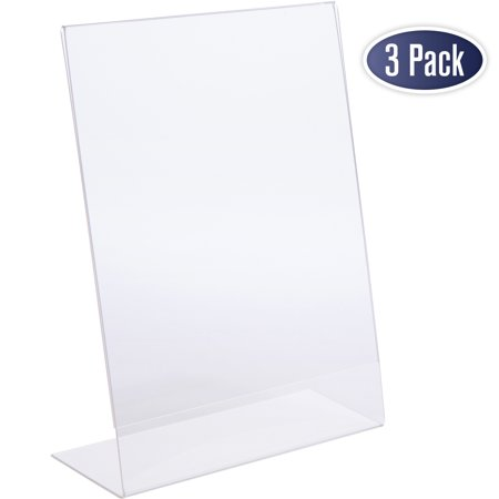 Acrylic Sign Board (Slant Back Acrylic Sign Holder, 8.5 x 11 Inches Economy Portrait Ad Frames, Perfect for Home, Office, Store, Restaraunt (3)