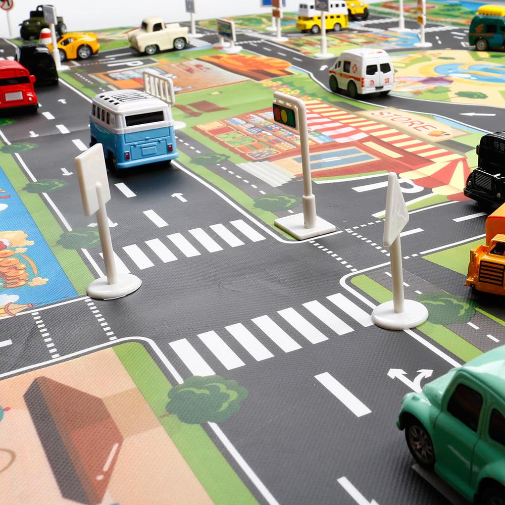 Blackcat Kids Foldable Mini Play Mat City Road Buildings Parking Map Game Scene Map Educational Toys