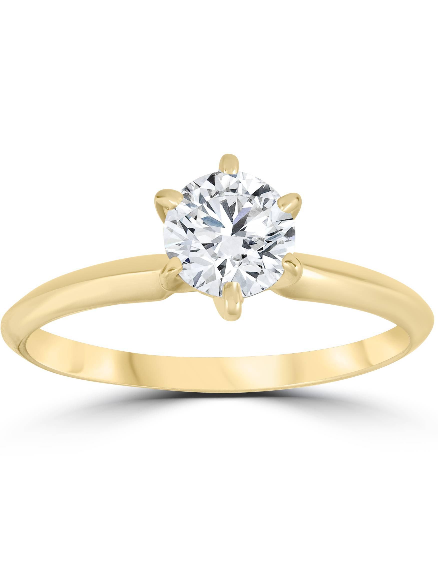 14k Yellow Gold 3/4ct Round Solitaire Diamond Engagement Ring Jewelry Brilliant