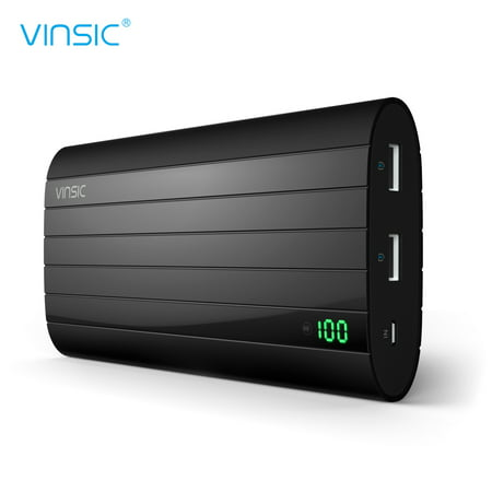Power bank,Vinsic PB206 20000mAh 5V 2.4A Ultra Slim Dual USB Portable Charger External Battery pack backup for all Smart