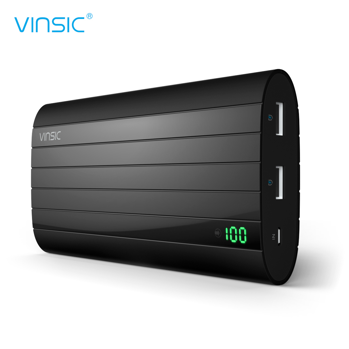 Power bank,Vinsic PB206 20000mAh 5V 2.4A Ultra Slim Dual USB Portable Charger External Battery pack backup for all Smart phones-Black