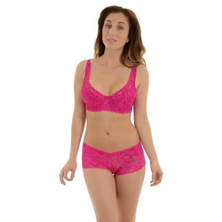 e1e3581d3ad7 Carrie Amber - Hot Pink Bra and Panties 2 Piece Set Matching Lace ...
