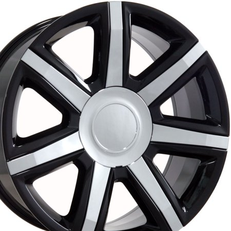 22x9 Wheel Fits GMC Chevy Trucks & SUVs - Cadillac Escalade Style Black Rim w/Chrome Inserts, Hollander 4739