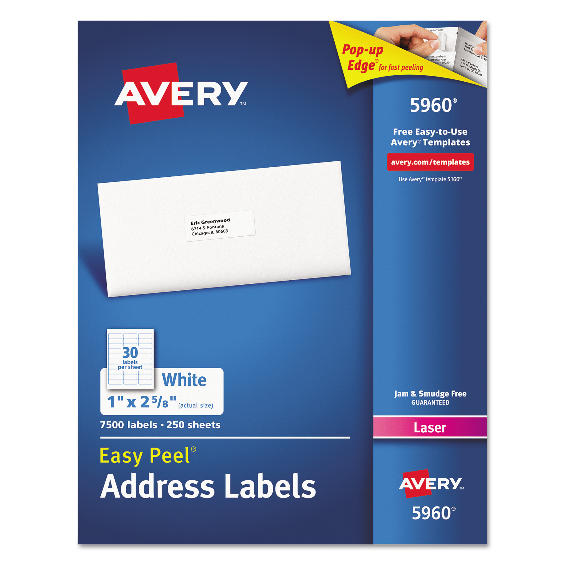 Avery Easy Peel Mailing Address Labels, Laser, 1 x 2 5/8, White, 7500/Box