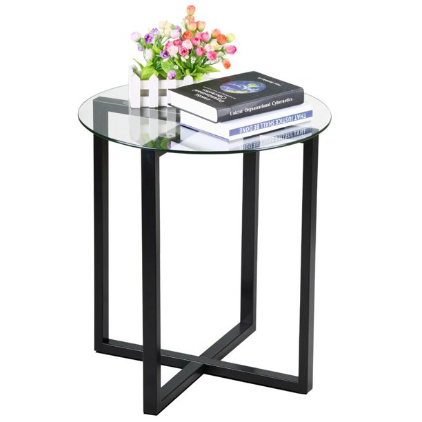 End Side Table Round Glass Top Coffee Sofa Table Modern Small