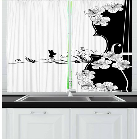 - Art Nouveau Curtains 2 Panels Set, Flower Musical Composition with Bird Scrolled Lily Petals Nature Growth, Window Drapes for Living Room Bedroom, 55W X 39L Inches, Black and White, by Ambesonne