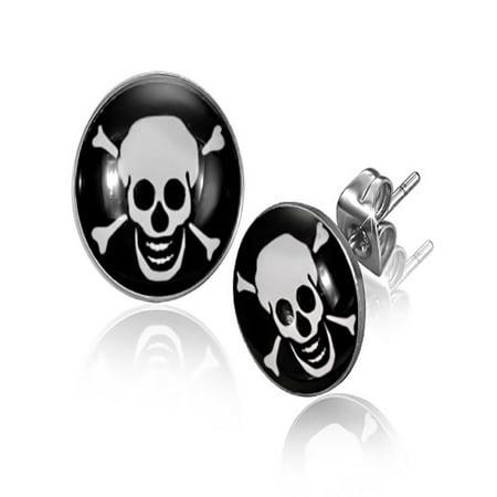 10mm Stainless Steel 3 tone Pirate Skull Crossbones Circle Stud Earrings Pair