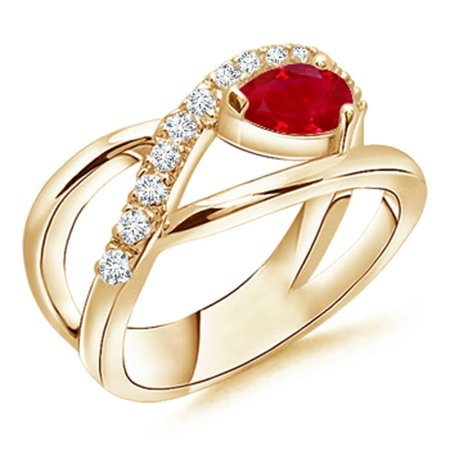 July Birthstone Ring - Criss Cross Pear Shaped Ruby Ring with Diamond Accents in 14K Yellow Gold (6x4mm Ruby) - SR0164R-YG-AAA-6x4-5
