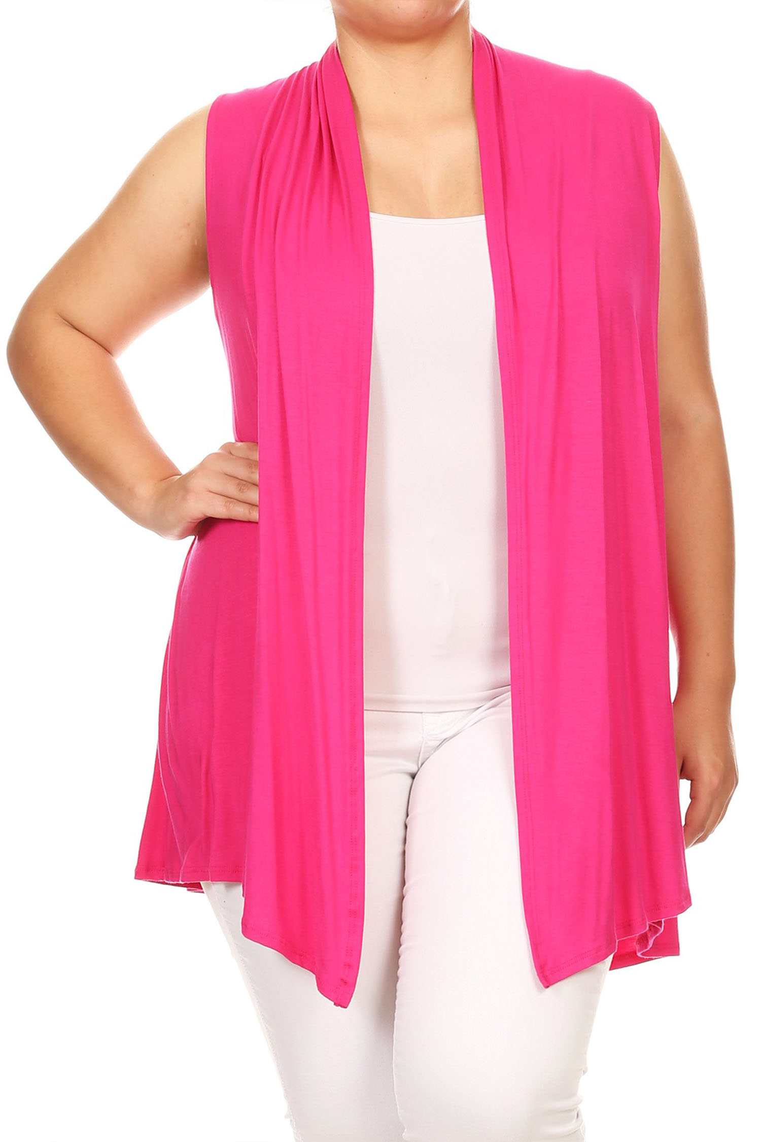 Women's Plus Size Solid Vest Cardigan