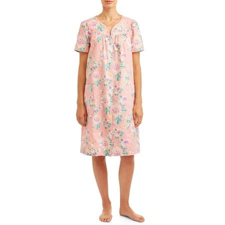 Women's and Women's Plus Seersucker Trapunto Snap Front Duster Robe
