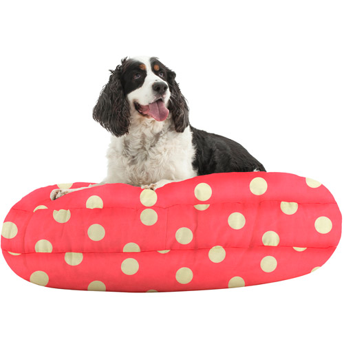"WufFuf Round Pet Bed with Liner, 42"" Diameter, Oxygen Candy Pink with White Dots"