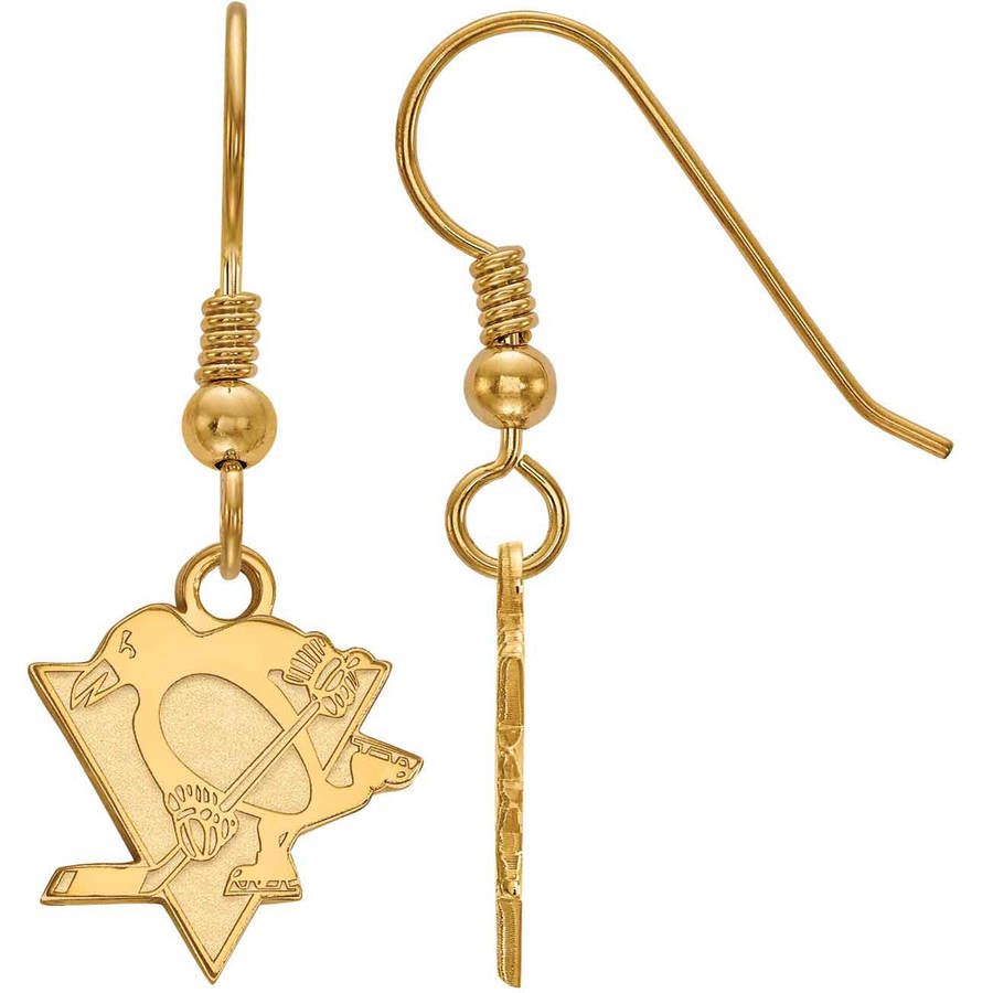 LogoArt NHL Pittsburgh Penguins 14kt Gold-Plated Sterling Silver Small Dangle Earrings
