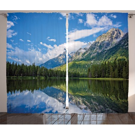 Lake House Decor Curtains 2 Panels Set  Pure Mountain Lake Scenery With Trees And Bright Cloudy Sky Nature Look Print  Living Room Bedroom Accessories  By Ambesonne