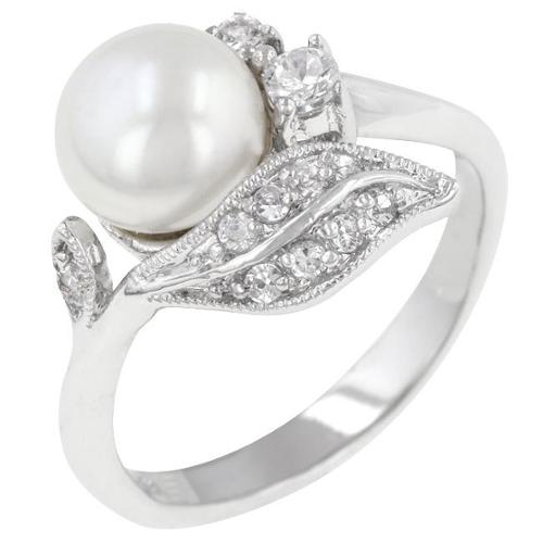 Kate Bissett R08084R-C84-10 Genuine Rhodium Plated Antique Style Ring with White Pearl and Round Cut Clear CZ in a Prong Setting in Silvertone- Size 10