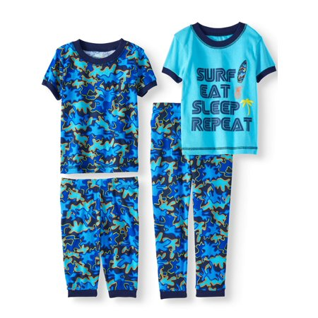 Boys' Surf Eat Sleep Repeat 4 Piece Pajama Sleep Set (Little Boy & Big Boy) - Little Boys Christmas Pajamas