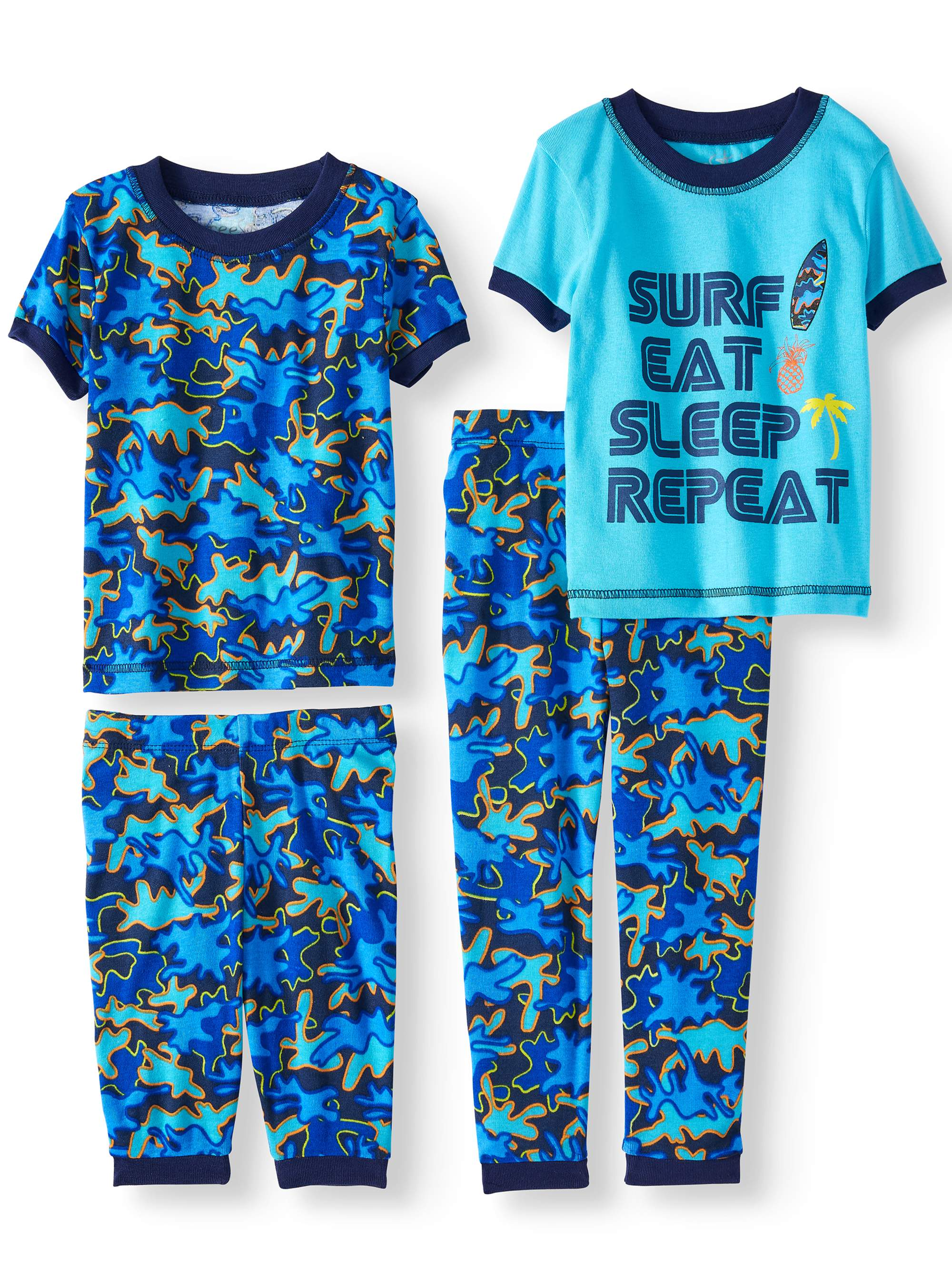 Boys' Surf Eat Sleep Repeat 4 Piece Pajama Sleep Set (Little Boy & Big Boy)