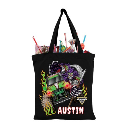 Personalized Monster Jam Grave Digger And Grim Black Tote Bag, - Personalized Tote