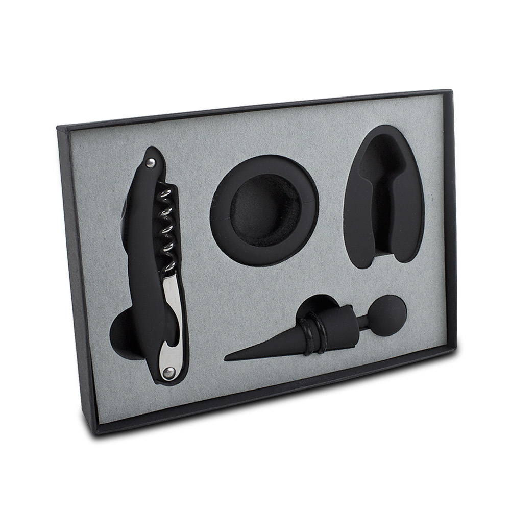 Metro 4-Piece Wine Tool Set, Black