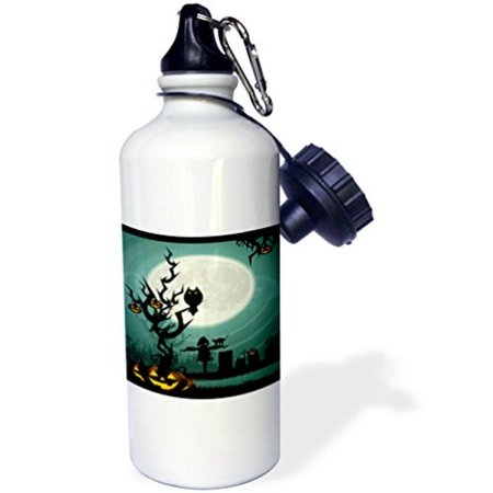 3dRose A Scary Halloween Scene With A Pumpkin, Haunted Tree Under A Big White Moon, Sports Water Bottle, 21oz