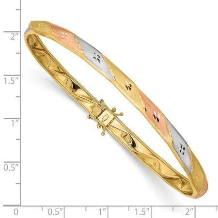 14K Rhodium Plated Yellow Gold White & Rose Rhodium Satin Diamond Cut Flex Bangle - image 1 of 2