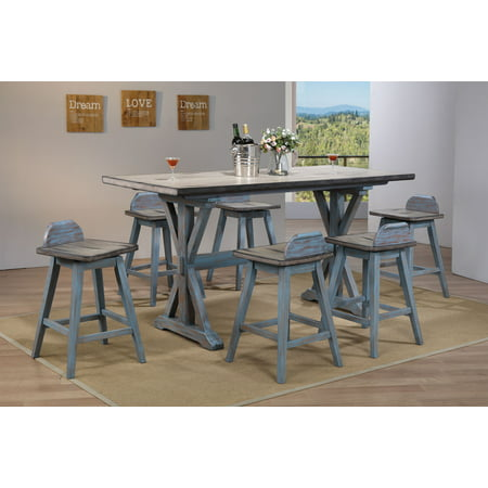 "Kris 7 Piece Counter Height Dining Set, Distressed Gray & Washed Blue Wood, Farmhouse, 72"" Rectangular, (Table & 6 Swivel Bar Stools)"
