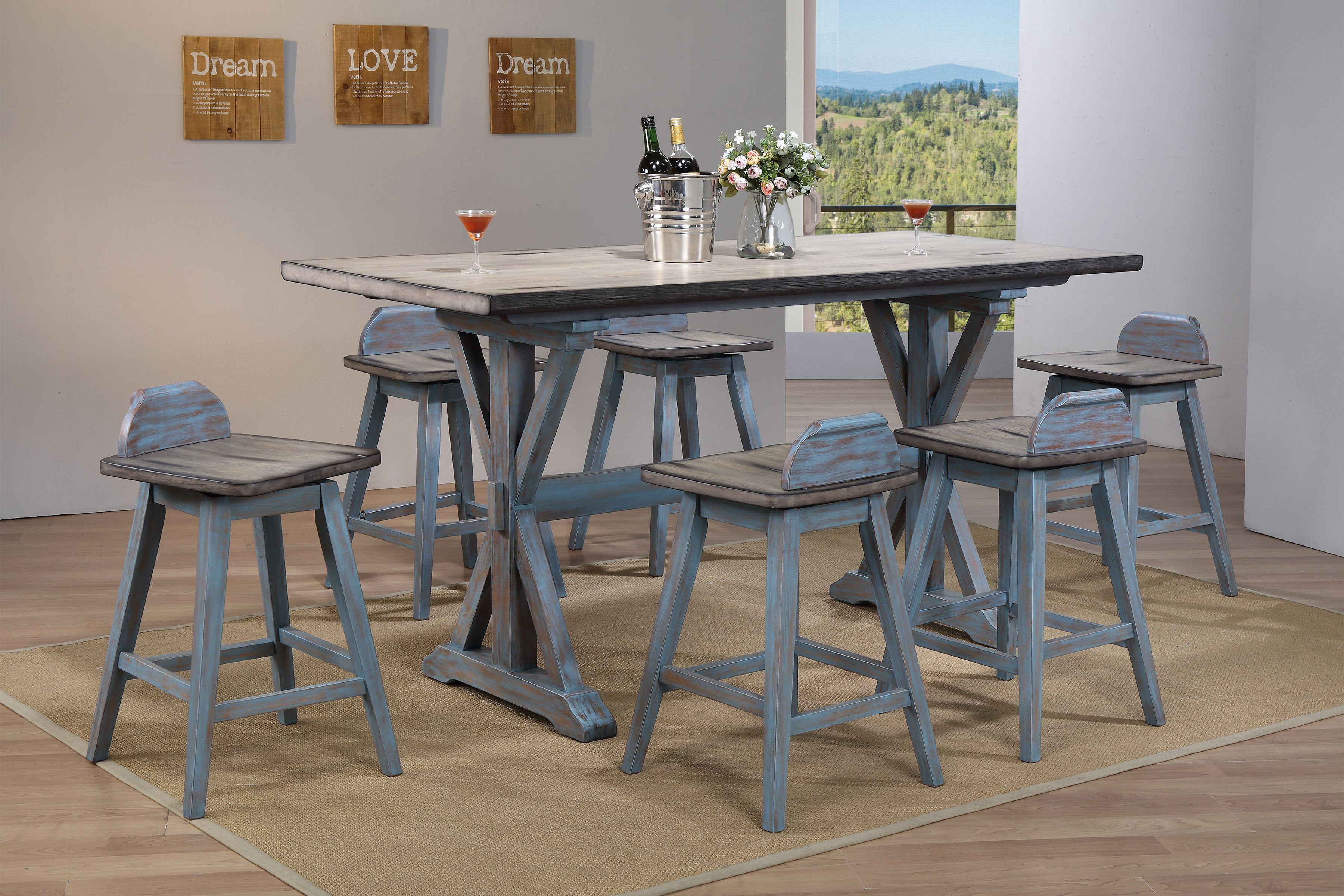 Kris 7 Piece Gray U0026 Blue Wood Farmhouse Counter Height 36 Inch Rectangle  Kitchen Dinette