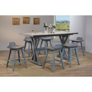 Kris 7 Piece Gray Blue Wood Farmhouse Counter Height 36 Inch Rectangle Kitchen Dinette