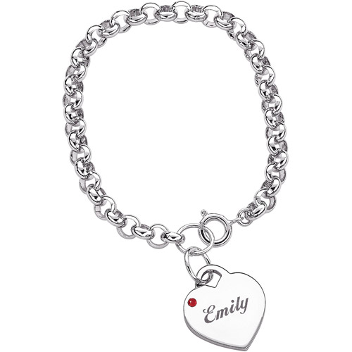 Personalized Name & Birthstone Heart Charm Bracelet