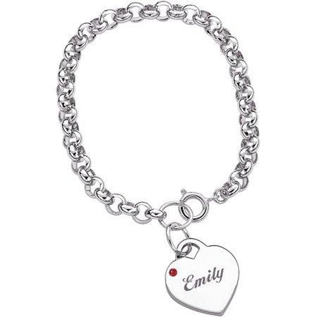 personalized name birthstone heart charm bracelet. Black Bedroom Furniture Sets. Home Design Ideas