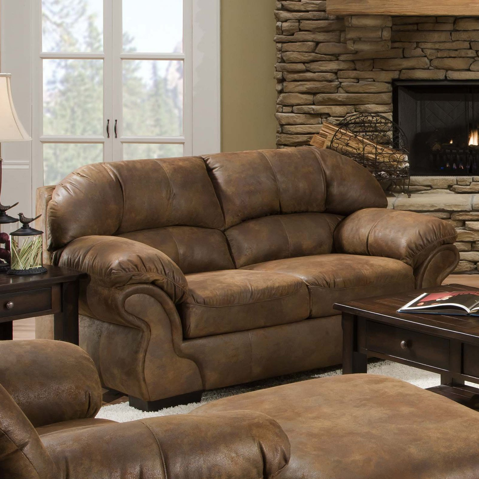 Simmons Pinto Tobacco Leather Loveseat   Walmart.com