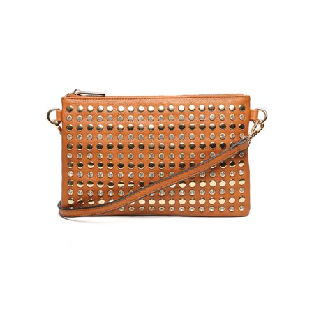 Handbag Republic D0172 Leatherette Studded Rhinestone Clutch Crossbody Bag (Handbag Republic)