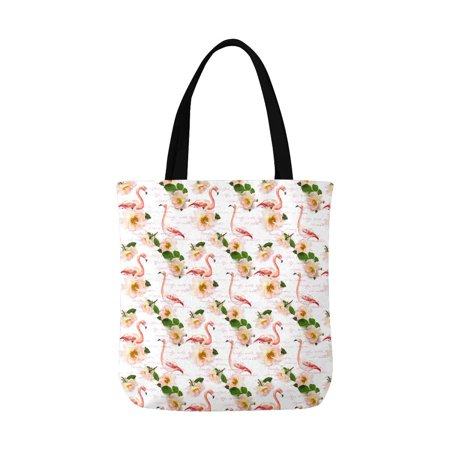 ASHLEIGH Watercolor Pink Roses Flowers and Flamingo Canvas Tote Bag Tote Shopping Bag Washable Grocery Tote Bag, Craft Canvas Bag for Women Men Kids (Flamingo Shoppen)