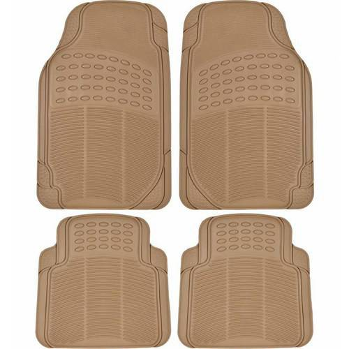 BDK Heavy-Duty 4-piece Front and Rear Rubber Car Floor Mats, All Weather Protection for Car, Truck and (Black Trunk Mat)