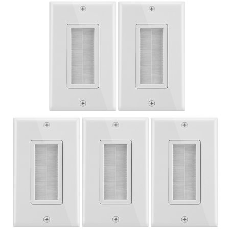 Fosmon 1-Gang Wall Plate (5 Pack), Brush Style Opening Passthrough Low Voltage Cable Plate In-Wall Installation for Speaker Wires, Coaxial Cables, HDMI Cables, or Network/Phone Cables