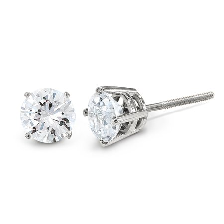 14K White Gold Diamond Round Screw Back Stud Earrings (0.05 CTTW, G-I Color, SI3-I1 Clarity) (Cttw Round Diamond Studs)
