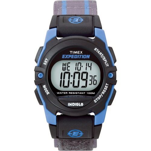 Timex Unisex Expedition Digital CAT Mid-Size Watch, Gray Stripe Fast Wrap Velcro Strap