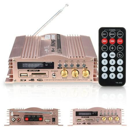 600W 2 Channel HIFI Stereo Mini Portable Audio Speaker Power Amplifier USB/SD/FM Radio for Car MP3 Motor Computer+ Remote Control