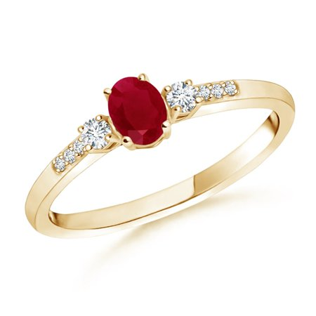 July Birthstone Ring - Classic Oval Ruby and Round Diamond Three Stone Ring in 14K Yellow Gold (5x3mm Ruby) - SR0267R-YG-AA-5x3-6.5 3 Stone Ruby Diamond
