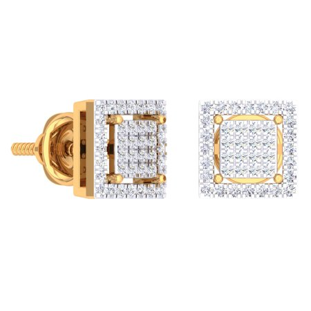 - 0.32 Carat (Ctw) 10K Yellow Gold Round Cut White Diamond Square Shaped Stud Earrings 1/3 CT