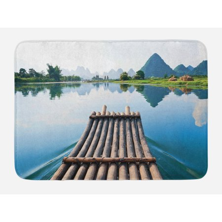 Bamboo Bath Mat, Nature Landscape from a Bamboo Port by River with Mountain and Tree Country Print, Non-Slip Plush Mat Bathroom Kitchen Laundry Room Decor, 29.5 X 17.5 Inches, Blue Green, Ambesonne