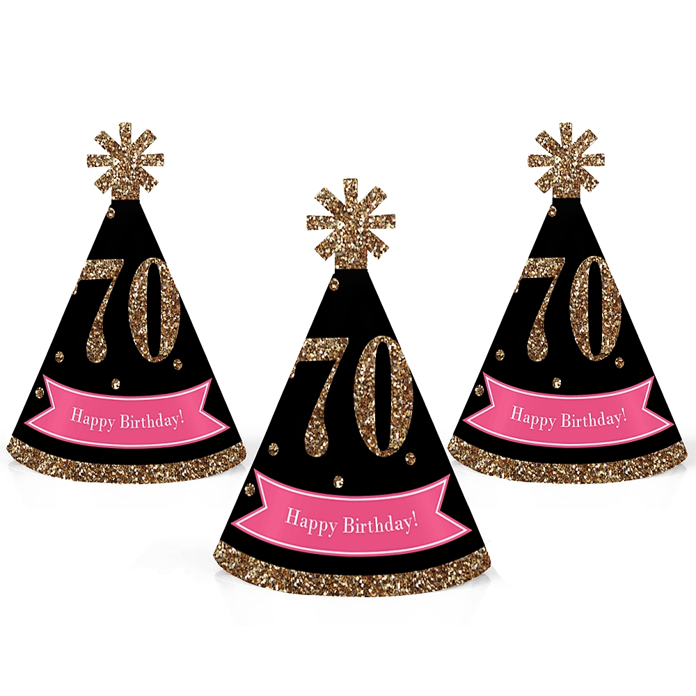 Chic 70th Birthday - Pink, Black and Gold - Mini Cone Birthday Party Hats - Small Little Party Hats - Set of 10