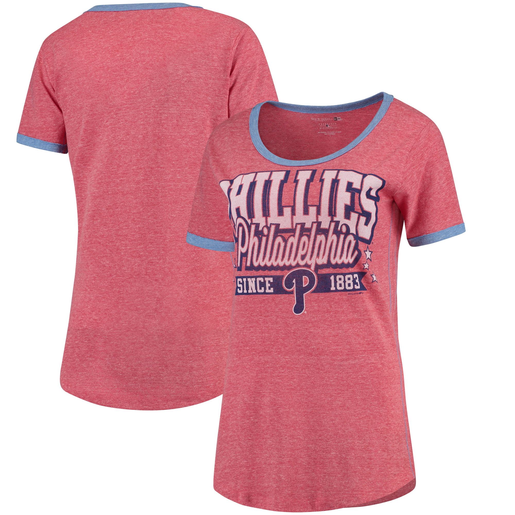 Philadelphia Phillies 5th & Ocean by New Era Women's Jersey Ringer Tri-Blend T-Shirt - Red/Royal