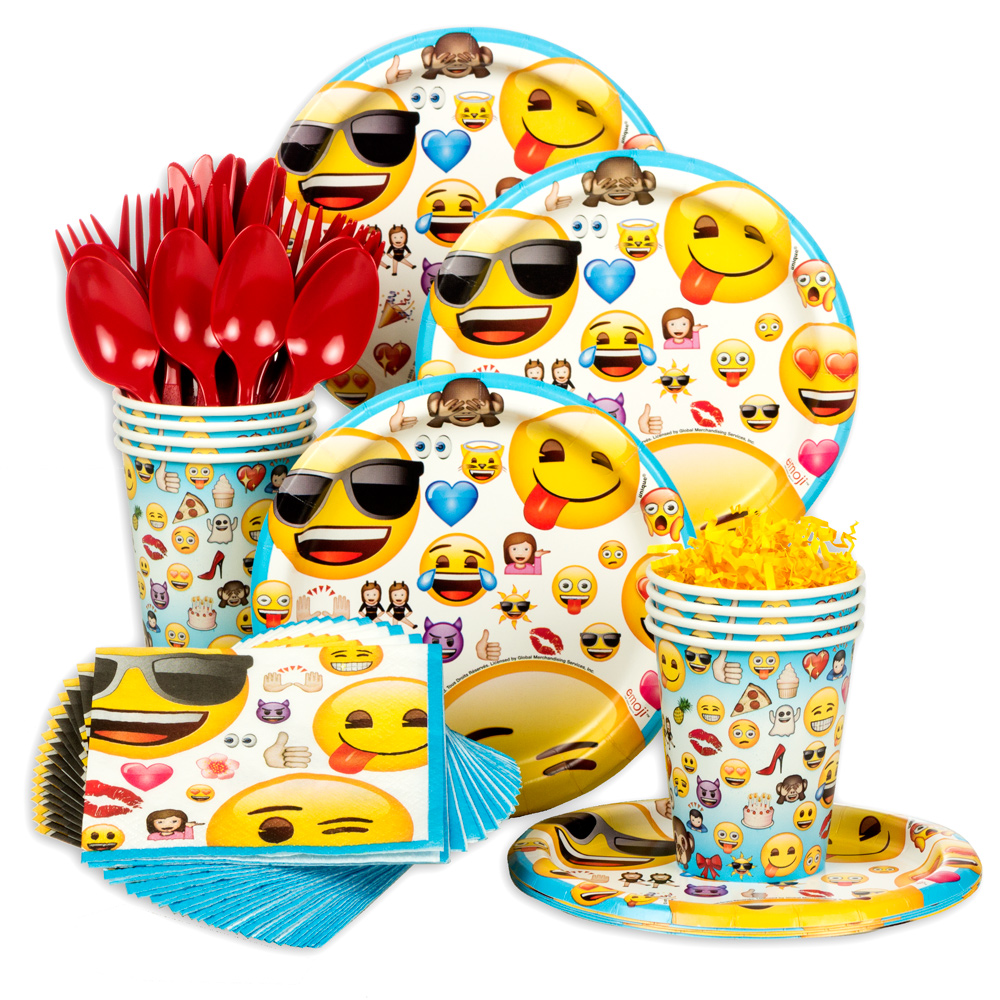 Emoji Standard Birthday Party Tableware Kit (Serves 8) - Party Supplies